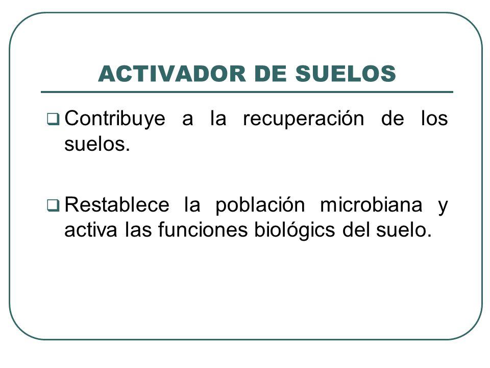 ACTIVADOR DE SUELOS Contribuye a la recuperación de los suelos. Restablece la población microbiana y activa las funciones biológics del suelo.