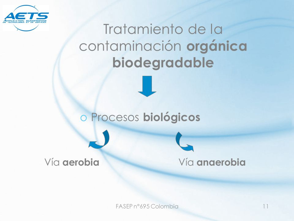 FASEP n°695 Colombia11 Tratamiento de la contaminación orgánica biodegradable oProcesos biológicos Vía aerobia Vía anaerobia