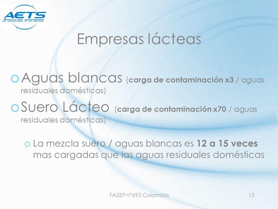 FASEP n°695 Colombia13 Empresas lácteas oAguas blancas ( carga de contaminación x3 / aguas residuales domésticas) oSuero Lácteo ( carga de contaminaci
