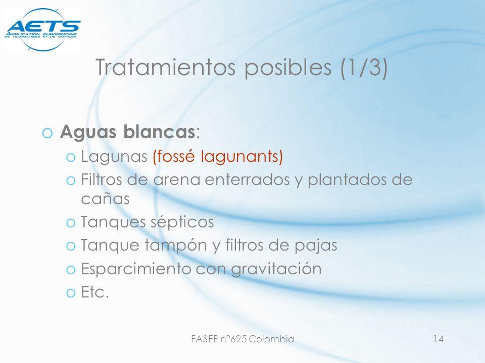 FASEP n°695 Colombia14 Tratamientos posibles (1/3) o Aguas blancas : oLagunas (fossé lagunants) oFiltros de arena enterrados y plantados de cañas oTan
