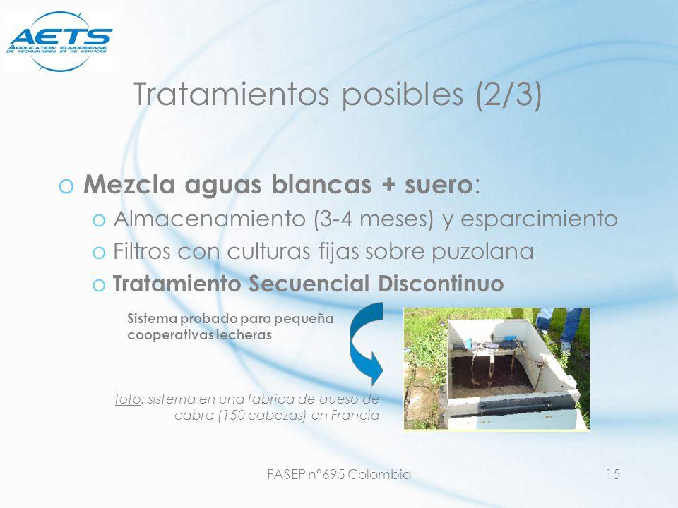 FASEP n°695 Colombia15 Tratamientos posibles (2/3) o Mezcla aguas blancas + suero : oAlmacenamiento (3-4 meses) y esparcimiento oFiltros con culturas