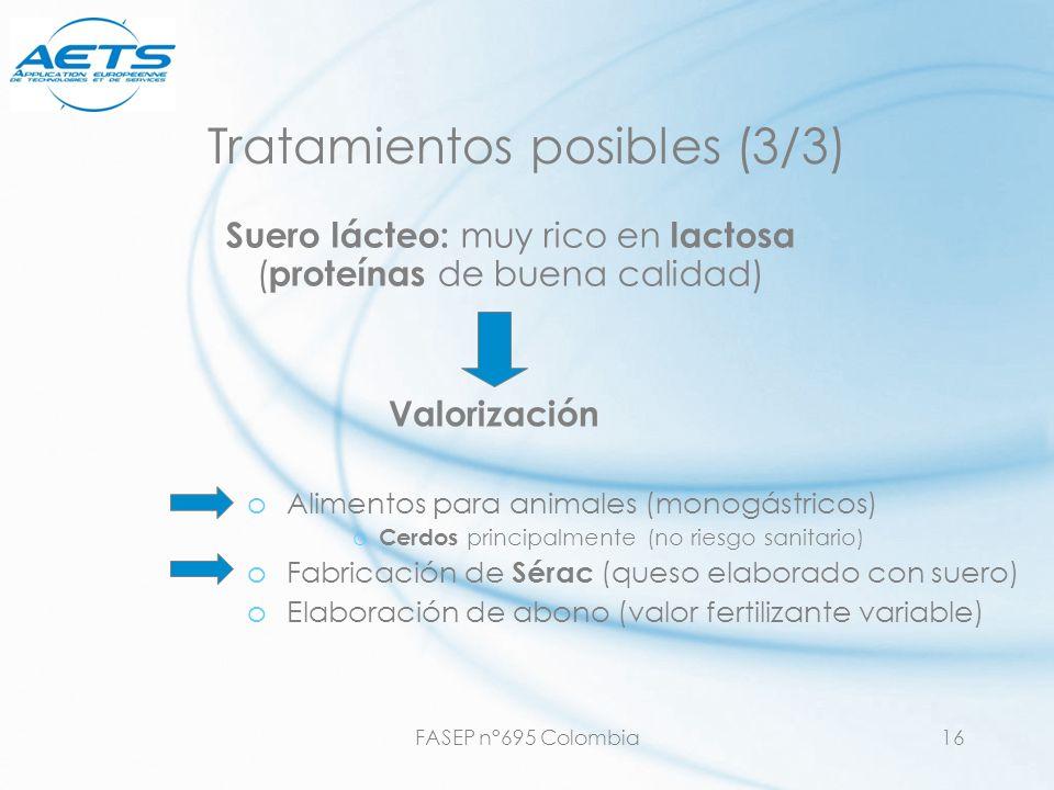 FASEP n°695 Colombia16 Tratamientos posibles (3/3) oAlimentos para animales (monogástricos) o Cerdos principalmente (no riesgo sanitario) oFabricación
