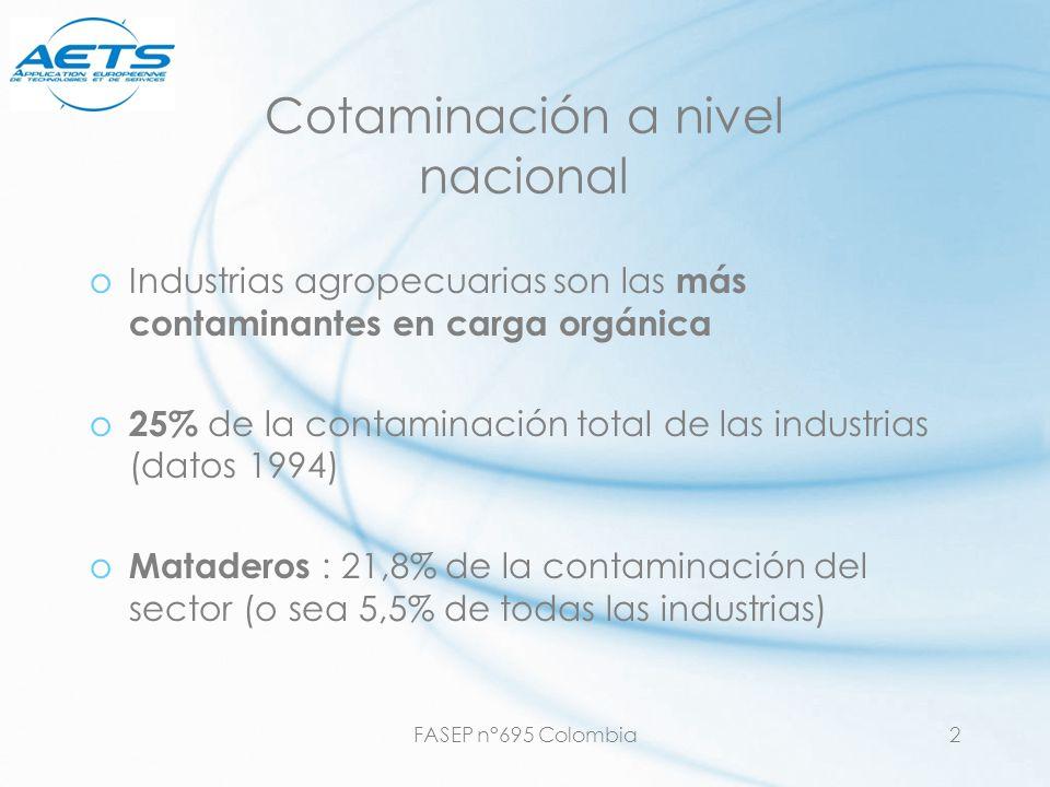 FASEP n°695 Colombia2 Cotaminación a nivel nacional oIndustrias agropecuarias son las más contaminantes en carga orgánica o 25% de la contaminación to