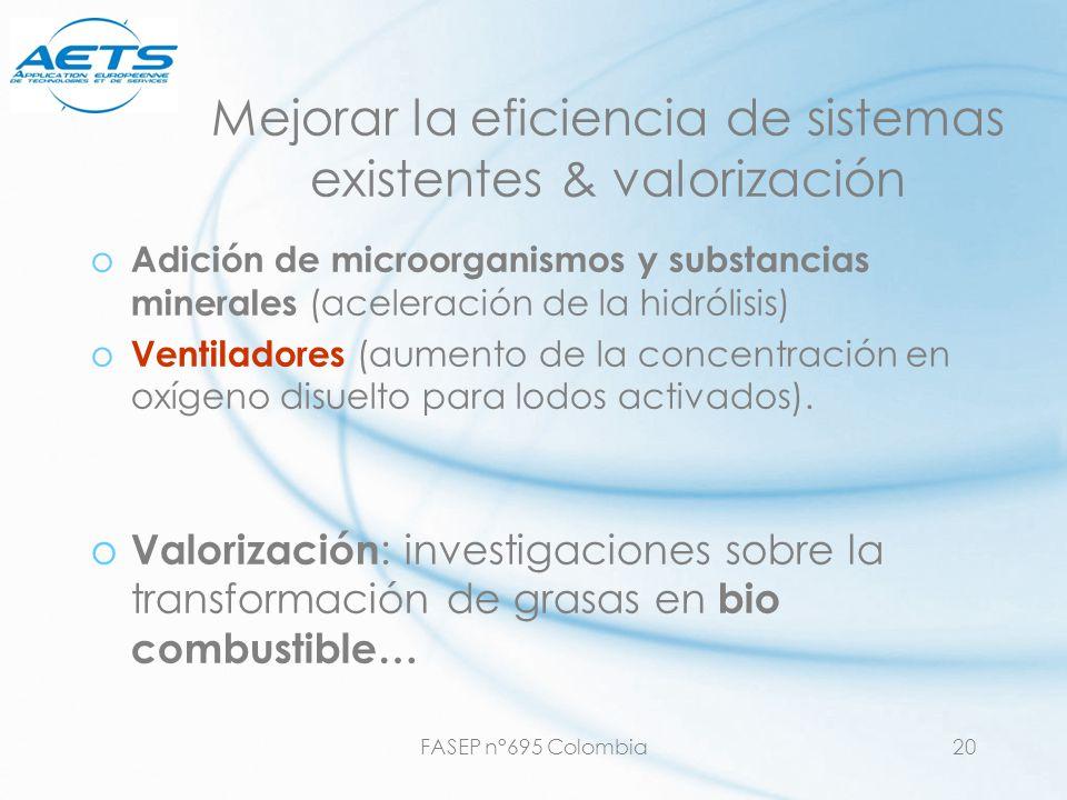 FASEP n°695 Colombia20 Mejorar la eficiencia de sistemas existentes & valorización o Adición de microorganismos y substancias minerales (aceleración d