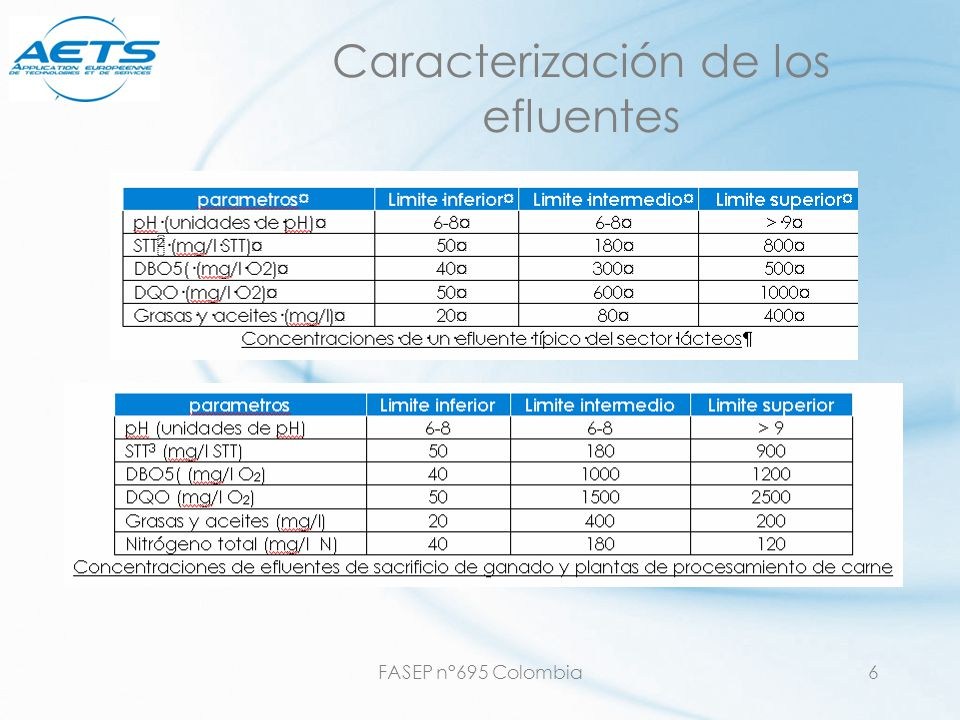 FASEP n°695 Colombia17 Mataderos oSangre oGrasas *** o Equipamiento y organización interno muy importante: oSeparar los sólidos, recuperación de la sangre, las aguas, etc.