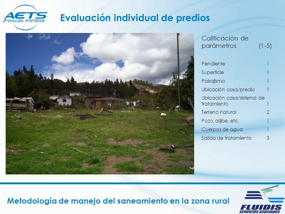Metodología de manejo del saneamiento en la zona rural Evaluación individual de predios Calificación de parámetros (1-5) Pendiente 1 Superficie 1 Pais