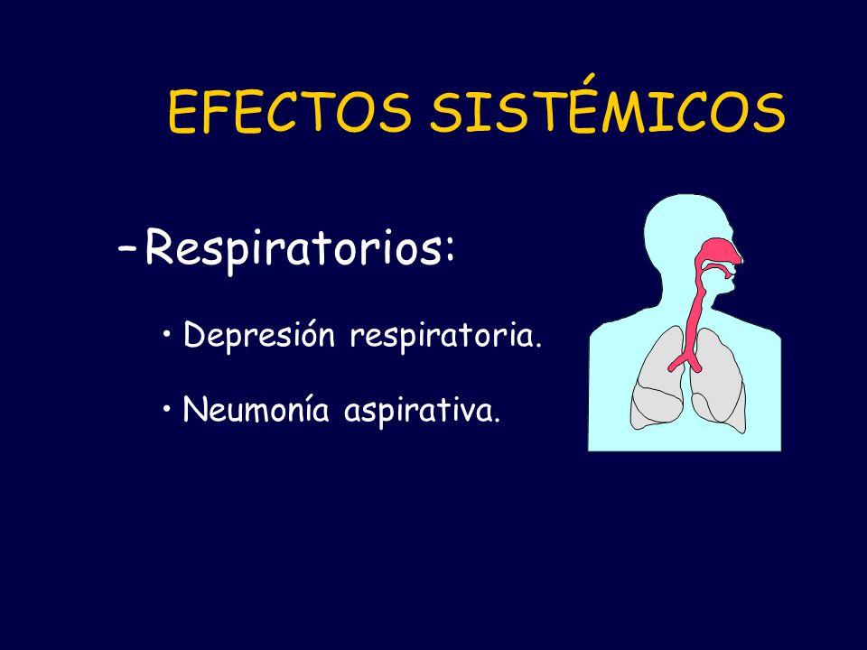 EFECTOS SISTÉMICOS –Respiratorios: Depresión respiratoria. Neumonía aspirativa.