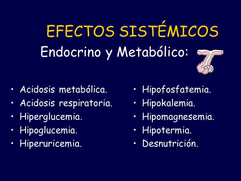 Acidosis metabólica. Acidosis respiratoria. Hiperglucemia. Hipoglucemia. Hiperuricemia. Hipofosfatemia. Hipokalemia. Hipomagnesemia. Hipotermia. Desnu