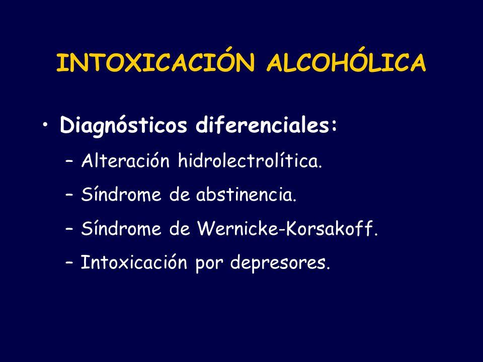 INTOXICACIÓN ALCOHÓLICA Diagnósticos diferenciales: –Alteración hidrolectrolítica. –Síndrome de abstinencia. –Síndrome de Wernicke-Korsakoff. –Intoxic