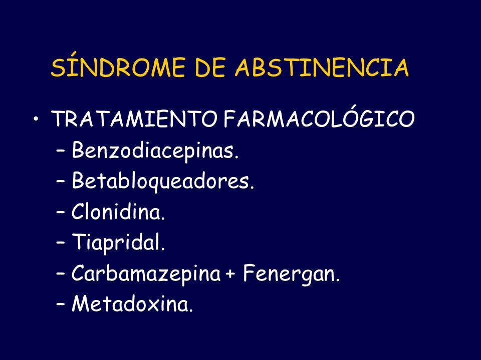 SÍNDROME DE ABSTINENCIA TRATAMIENTO FARMACOLÓGICO –Benzodiacepinas. –Betabloqueadores. –Clonidina. –Tiapridal. –Carbamazepina + Fenergan. –Metadoxina.