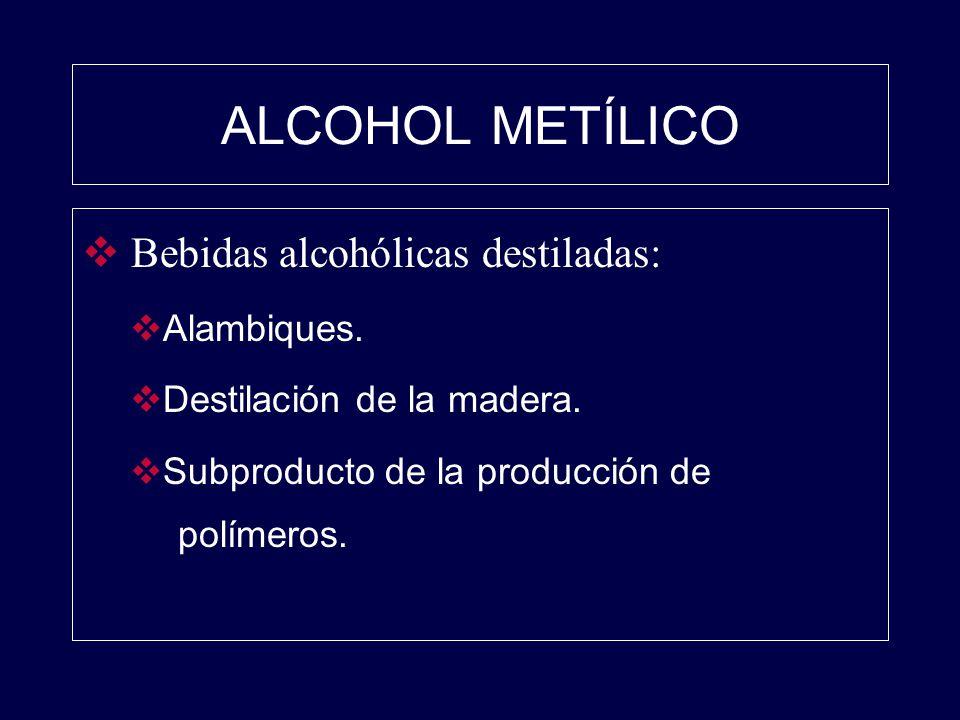 ALCOHOL METÍLICO Bebidas alcohólicas destiladas: Alambiques. Destilación de la madera. Subproducto de la producción de polímeros.