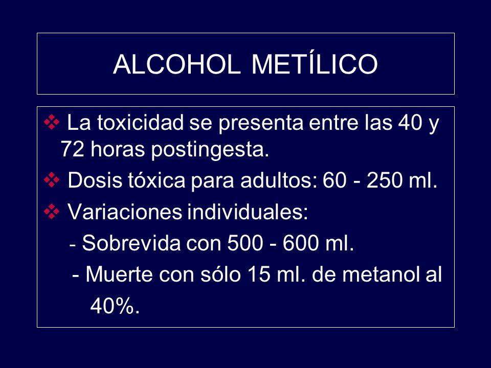 La toxicidad se presenta entre las 40 y 72 horas postingesta. Dosis tóxica para adultos: 60 - 250 ml. Variaciones individuales: - Sobrevida con 500 -