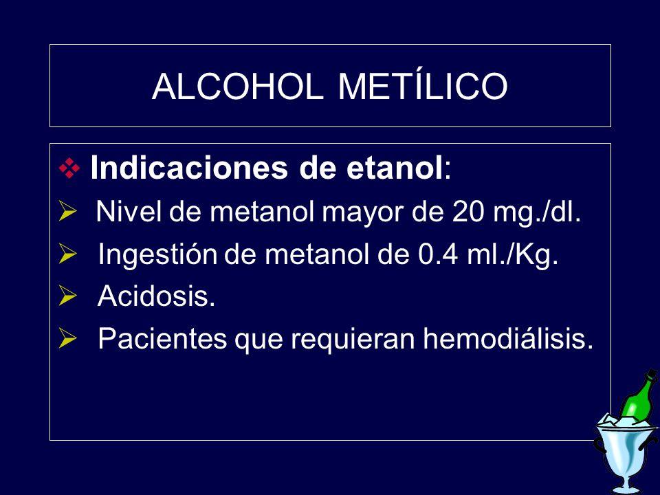 ALCOHOL METÍLICO Indicaciones de etanol: Nivel de metanol mayor de 20 mg./dl. Ingestión de metanol de 0.4 ml./Kg. Acidosis. Pacientes que requieran he