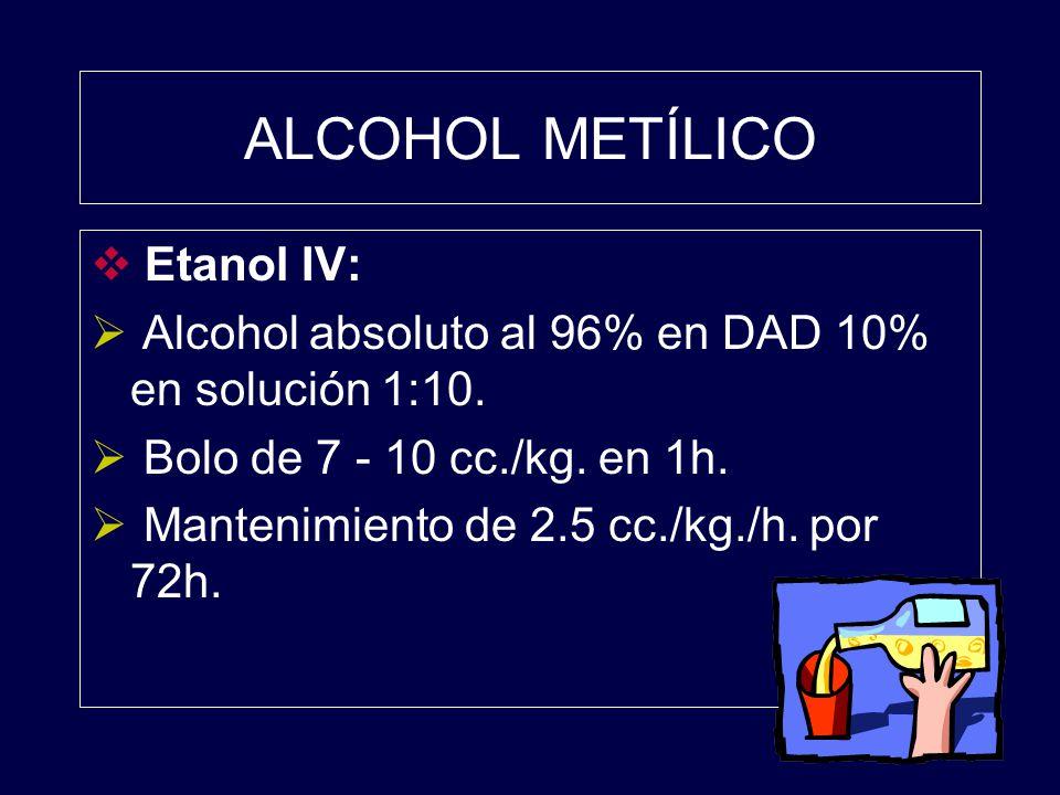 ALCOHOL METÍLICO Etanol IV: Alcohol absoluto al 96% en DAD 10% en solución 1:10. Bolo de 7 - 10 cc./kg. en 1h. Mantenimiento de 2.5 cc./kg./h. por 72h