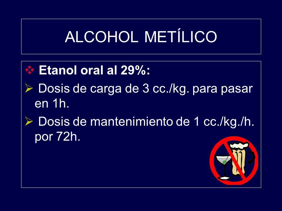 ALCOHOL METÍLICO Etanol oral al 29%: Dosis de carga de 3 cc./kg. para pasar en 1h. Dosis de mantenimiento de 1 cc./kg./h. por 72h.
