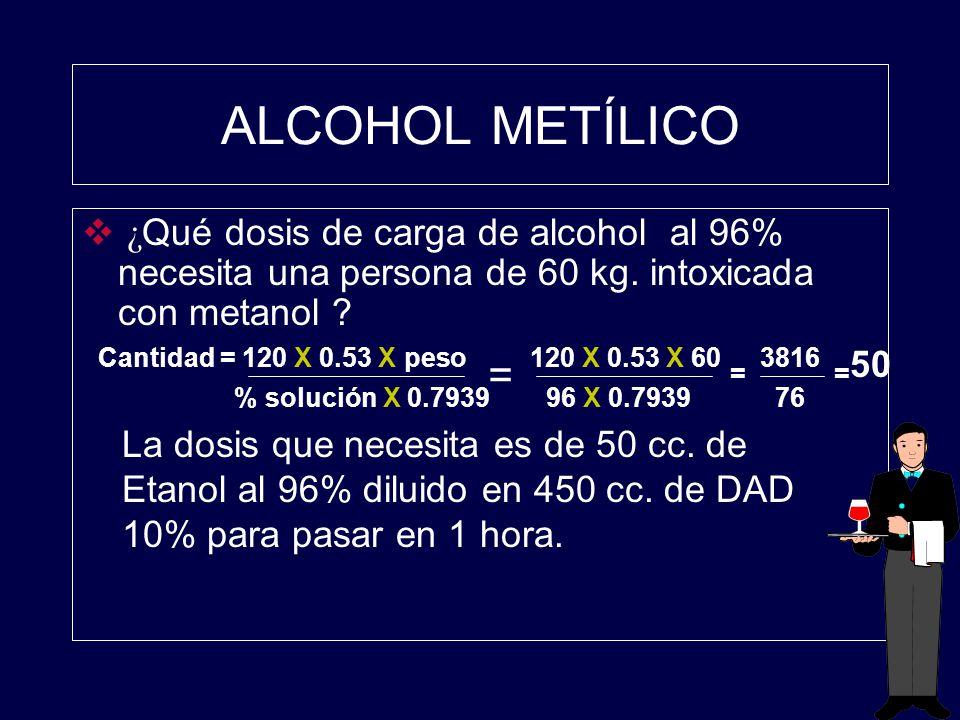 ALCOHOL METÍLICO ¿ Qué dosis de carga de alcohol al 96% necesita una persona de 60 kg. intoxicada con metanol ? Cantidad = 120 X 0.53 X peso % solució