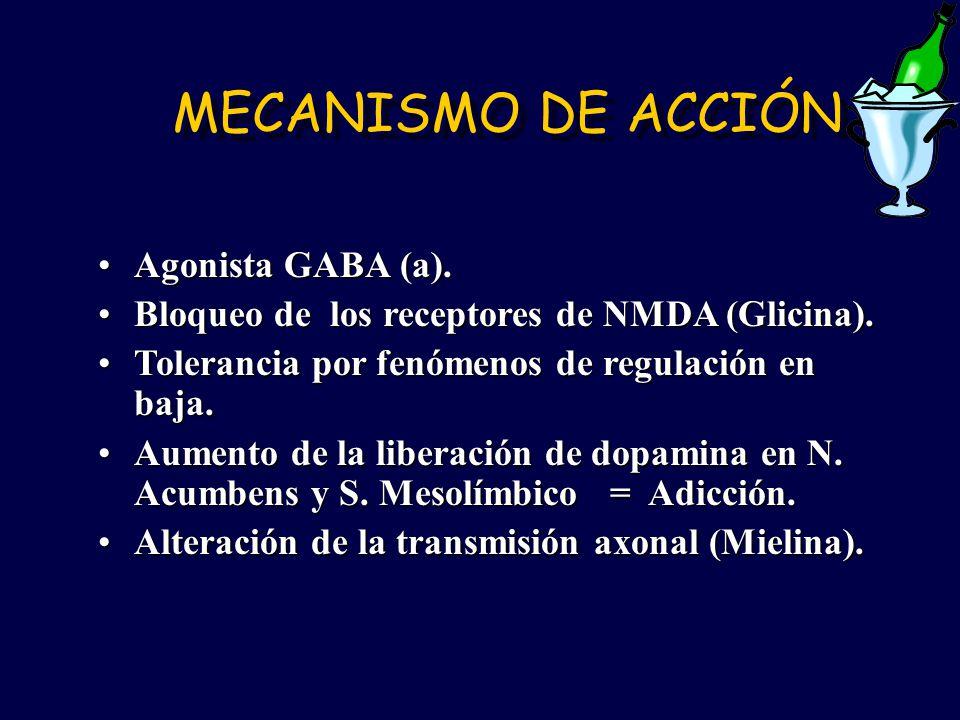 MECANISMO DE ACCIÓN Agonista GABA (a).Agonista GABA (a). Bloqueo de los receptores de NMDA (Glicina).Bloqueo de los receptores de NMDA (Glicina). Tole