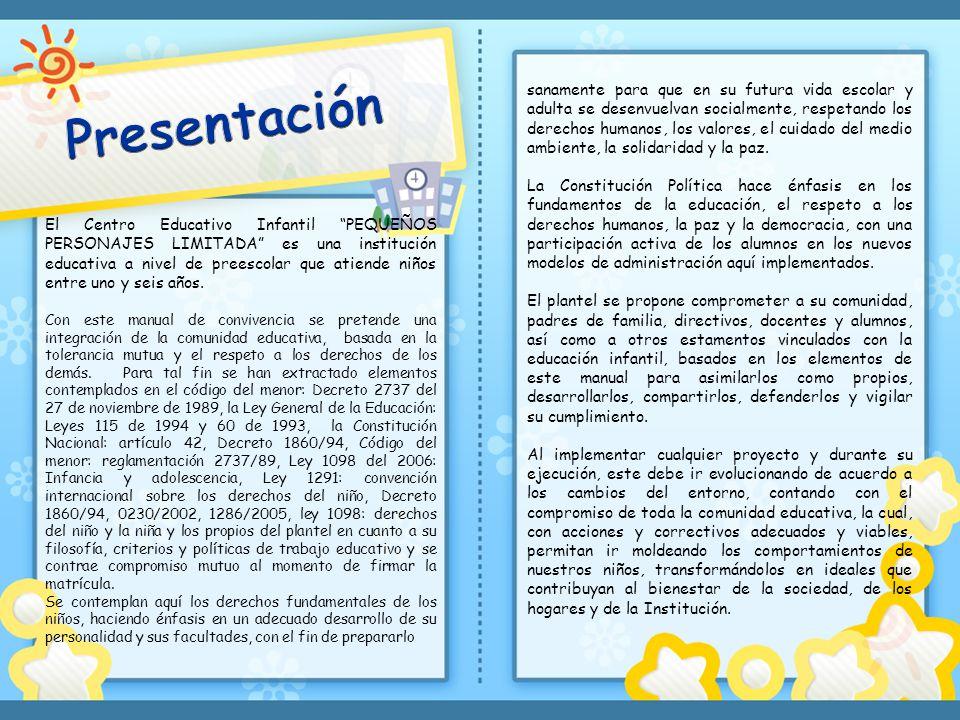 El Centro Educativo Infantil PEQUEÑOS PERSONAJES LIMITADA es una institución educativa a nivel de preescolar que atiende niños entre uno y seis años.
