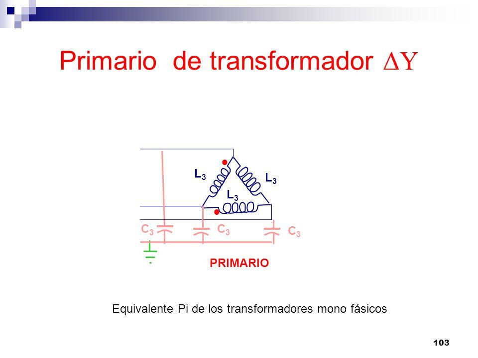 Primario de transformador ΔY 103 C3C3 L3L3 L3L3 L3L3 PRIMARIO Equivalente Pi de los transformadores mono fásicos C3C3 C3C3
