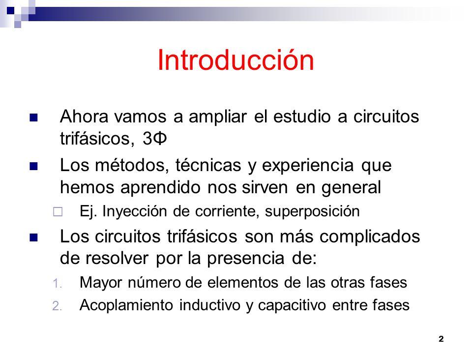 2 Introducción Ahora vamos a ampliar el estudio a circuitos trifásicos, 3Φ Los métodos, técnicas y experiencia que hemos aprendido nos sirven en general Ej.