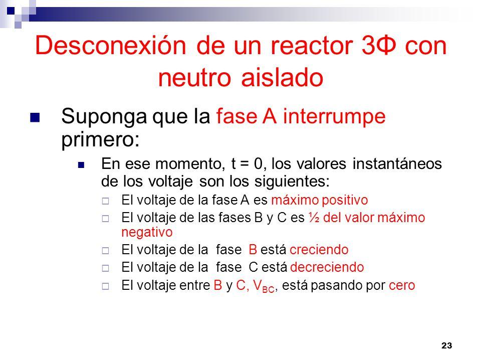 23 Desconexión de un reactor 3Φ con neutro aislado Suponga que la fase A interrumpe primero: En ese momento, t = 0, los valores instantáneos de los voltaje son los siguientes: El voltaje de la fase A es máximo positivo El voltaje de las fases B y C es ½ del valor máximo negativo El voltaje de la fase B está creciendo El voltaje de la fase C está decreciendo El voltaje entre B y C, V BC, está pasando por cero