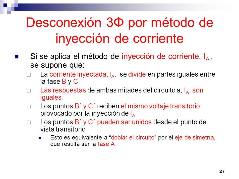 27 Desconexión 3Φ por método de inyección de corriente Si se aplica el método de inyección de corriente, I A, se supone que: La corriente inyectada, I A, se divide en partes iguales entre la fase B y C Las respuestas de ambas mitades del circuito a, I A, son iguales Los puntos B´ y C´ reciben el mismo voltaje transitorio provocado por la inyección de I A Los puntos B´ y C´ pueden ser unidos desde el punto de vista transitorio Esto es equivalente a doblar el circuito por el eje de simetría, que resulta ser la fase A