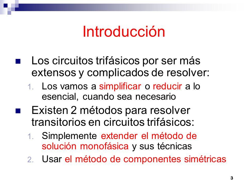44 Método de componentes simétricas Para condiciones transitorias provocadas por interruptores