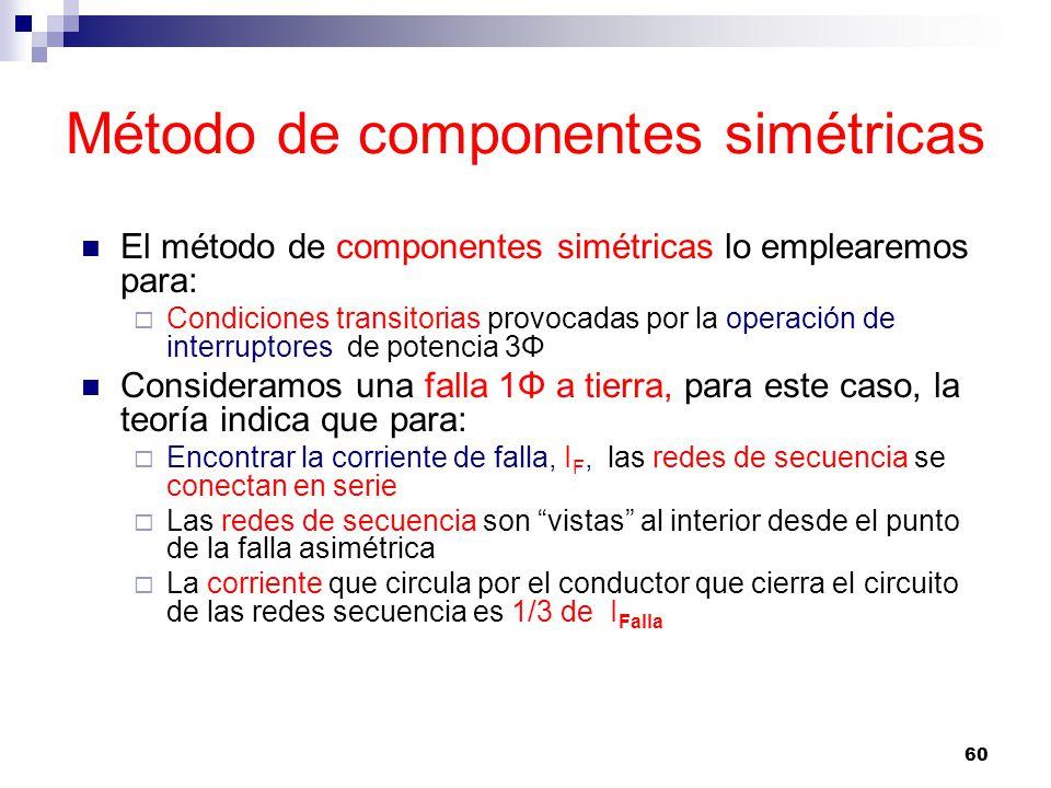 60 Método de componentes simétricas El método de componentes simétricas lo emplearemos para: Condiciones transitorias provocadas por la operación de interruptores de potencia 3Φ Consideramos una falla 1Φ a tierra, para este caso, la teoría indica que para: Encontrar la corriente de falla, I F, las redes de secuencia se conectan en serie Las redes de secuencia son vistas al interior desde el punto de la falla asimétrica La corriente que circula por el conductor que cierra el circuito de las redes secuencia es 1/3 de I Falla