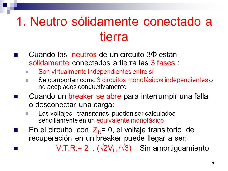 38 Desconexión de un capacitor 3Φ con neutro aislado Suponga que la fase A interrumpe primero: En ese momento, t = 0, los valores instantáneos de los voltaje son los siguientes: El voltaje del capacitor de la fase A es máximo positivo, y permanece cargado El voltaje de las fases B y C es ½ del valor máximo negativo El voltaje de la fase B está decreciendo El voltaje de la fase C está creciendo El voltaje entre B y C, V BC, está pasando por cero