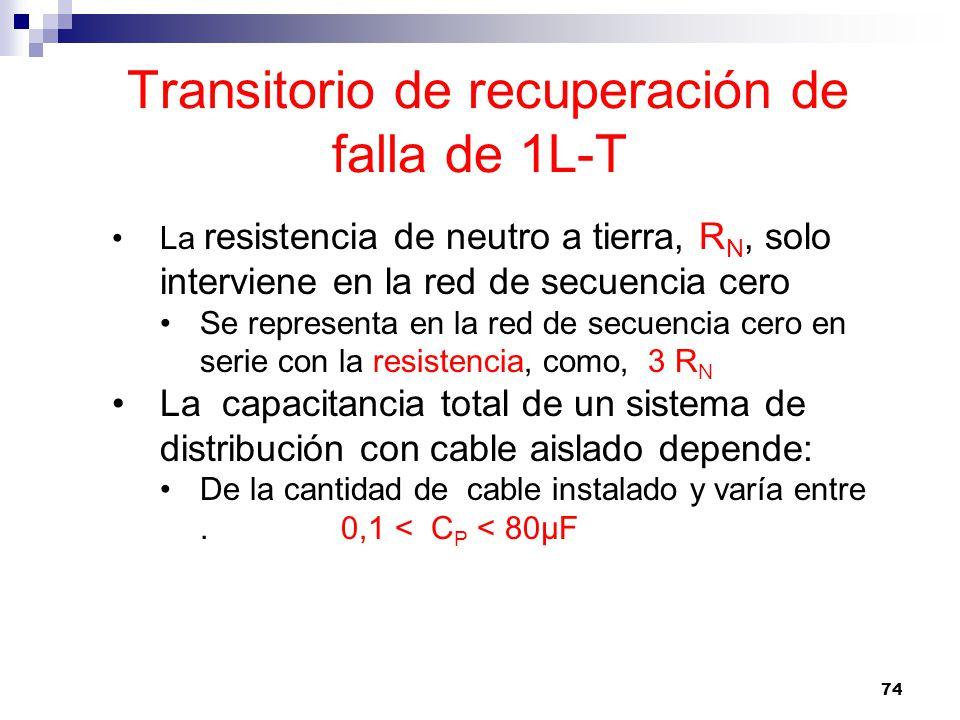 74 Transitorio de recuperación de falla de 1L-T La resistencia de neutro a tierra, R N, solo interviene en la red de secuencia cero Se representa en la red de secuencia cero en serie con la resistencia, como, 3 R N La capacitancia total de un sistema de distribución con cable aislado depende: De la cantidad de cable instalado y varía entre.