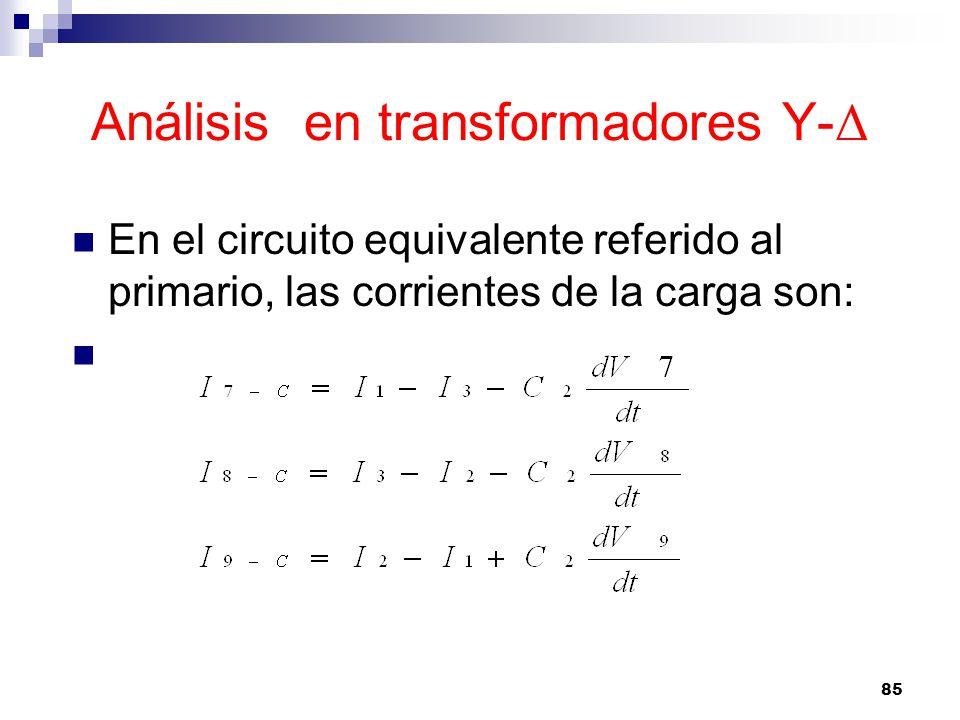 Análisis en transformadores Y- Δ En el circuito equivalente referido al primario, las corrientes de la carga son: 85