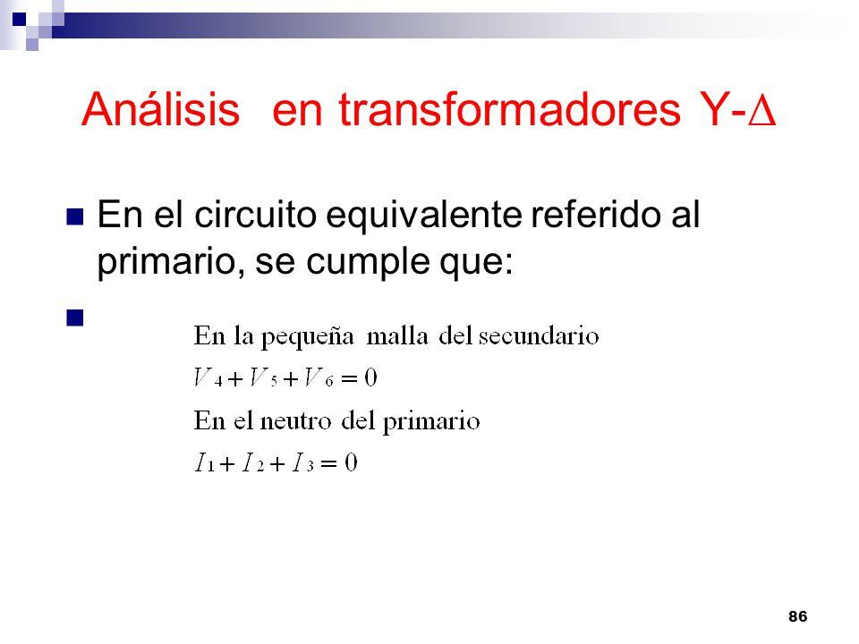 Análisis en transformadores Y- Δ En el circuito equivalente referido al primario, se cumple que: 86