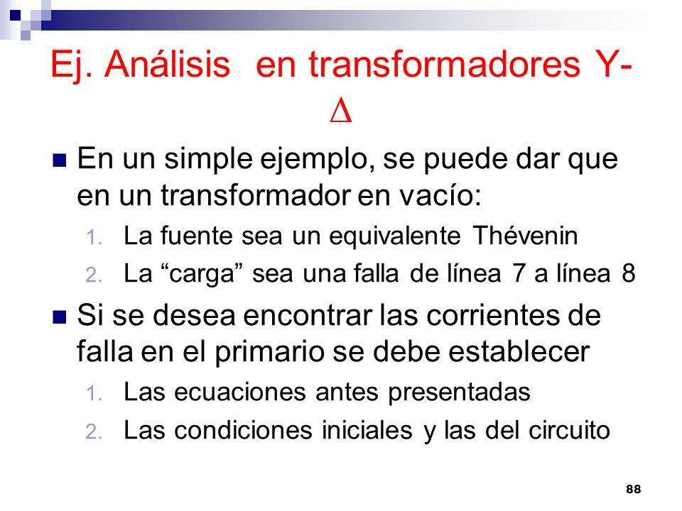 Ej. Análisis en transformadores Y- Δ En un simple ejemplo, se puede dar que en un transformador en vacío: 1. La fuente sea un equivalente Thévenin 2.