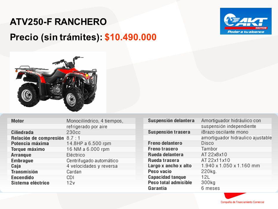 ATV250-F RANCHERO Precio (sin trámites): $10.490.000