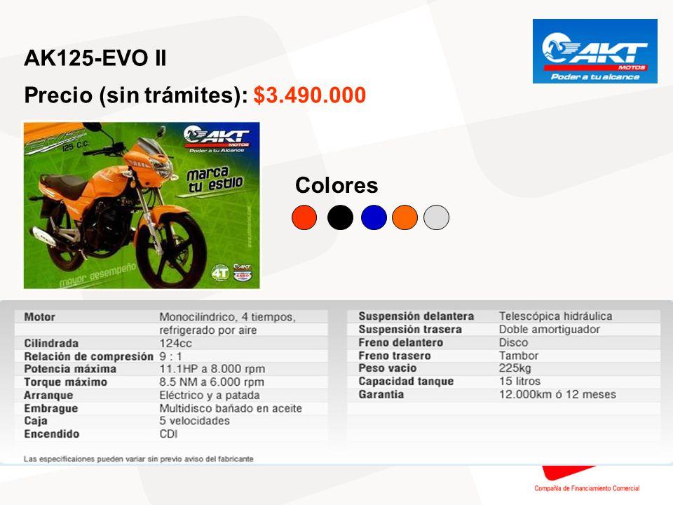 AK125-FLEX Precio (sin trámites): $3.790.000 Colores