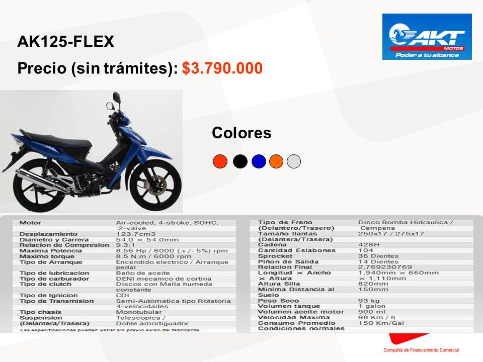 AK125-TT Precio (sin trámites): $3.790.000 Colores