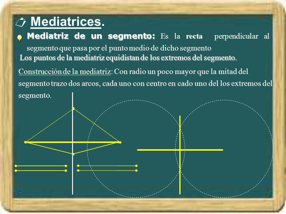 Mediatrices. Mediatriz de un segmento: Mediatriz de un segmento: Es la recta perpendicular al segmento que pasa por el punto medio de dicho segmento L