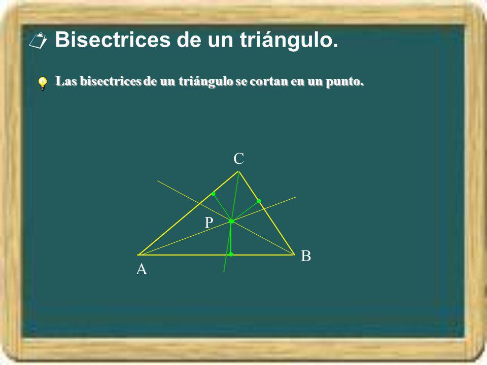Bisectrices de un triángulo. Las bisectrices de un triángulo se cortan en un punto. A B C P