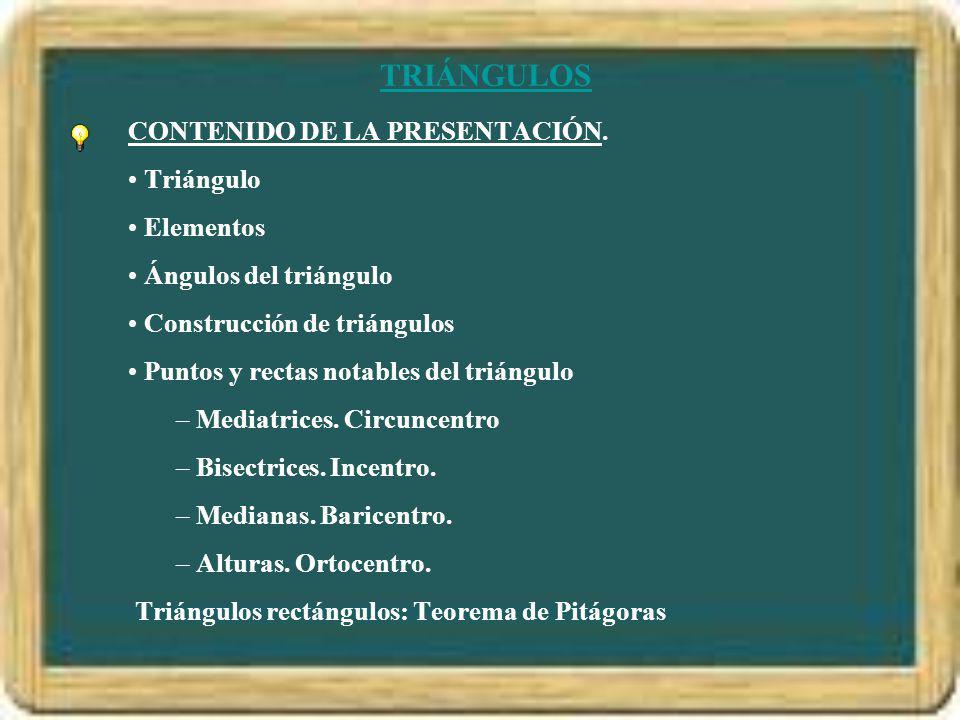 TRIÁNGULOS CONTENIDO DE LA PRESENTACIÓN. Triángulo Elementos Ángulos del triángulo Construcción de triángulos Puntos y rectas notables del triángulo –