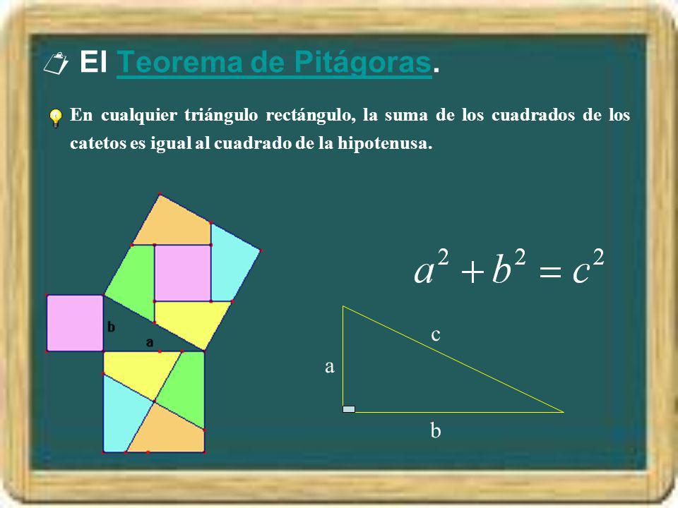 El Teorema de Pitágoras.Teorema de Pitágoras En cualquier triángulo rectángulo, la suma de los cuadrados de los catetos es igual al cuadrado de la hip