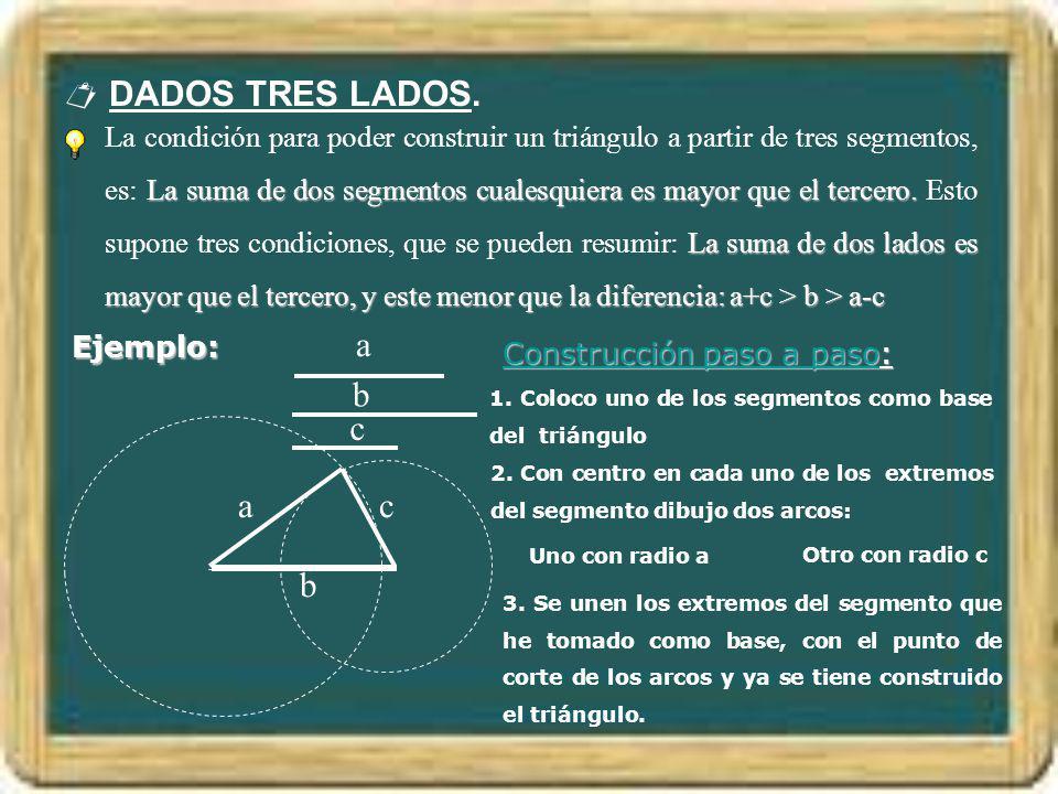 DADOS TRES LADOS. La suma de dos segmentos cualesquiera es mayor que el tercero. La suma de dos lados es mayor que el tercero, y este menor que la dif