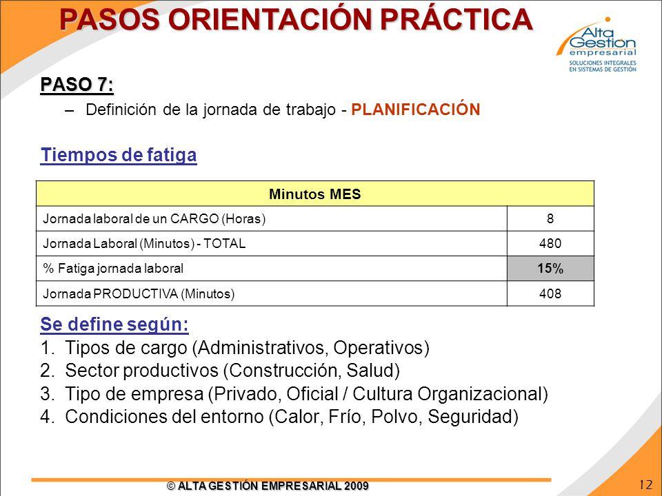 12 © ALTA GESTIÓN EMPRESARIAL 2009 PASO 7: –Definición de la jornada de trabajo - PLANIFICACIÓN Tiempos de fatiga Se define según: 1.Tipos de cargo (A