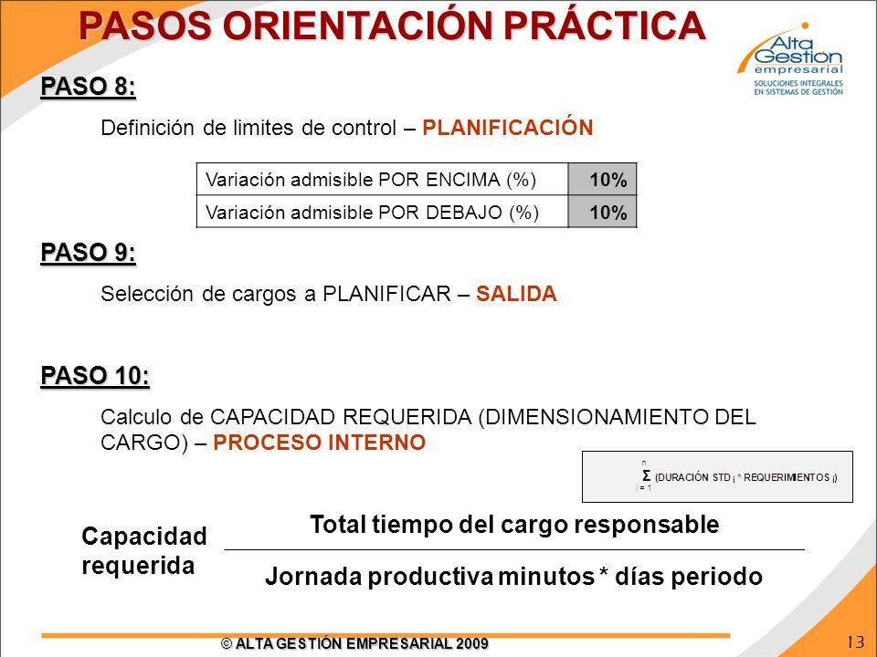 13 © ALTA GESTIÓN EMPRESARIAL 2009 PASO 8: Definición de limites de control – PLANIFICACIÓN PASO 9: Selección de cargos a PLANIFICAR – SALIDA PASO 10: