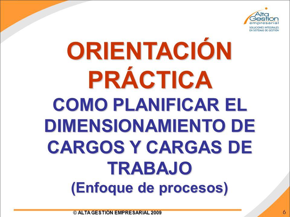 6 © ALTA GESTIÓN EMPRESARIAL 2009 ORIENTACIÓN PRÁCTICA COMO PLANIFICAR EL DIMENSIONAMIENTO DE CARGOS Y CARGAS DE TRABAJO (Enfoque de procesos)