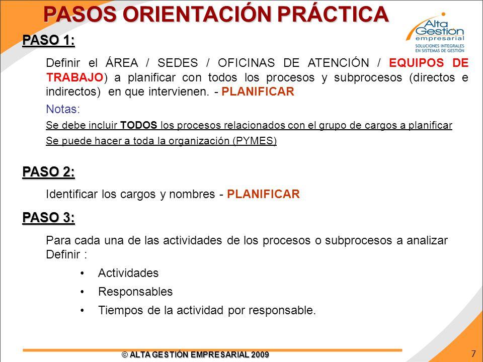 7 © ALTA GESTIÓN EMPRESARIAL 2009 PASO 1: Definir el ÁREA / SEDES / OFICINAS DE ATENCIÓN / EQUIPOS DE TRABAJO) a planificar con todos los procesos y s
