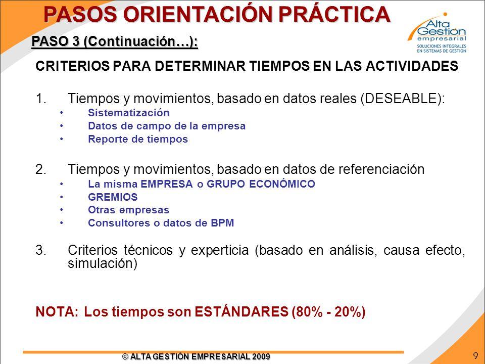 9 © ALTA GESTIÓN EMPRESARIAL 2009 CRITERIOS PARA DETERMINAR TIEMPOS EN LAS ACTIVIDADES 1.Tiempos y movimientos, basado en datos reales (DESEABLE): Sis
