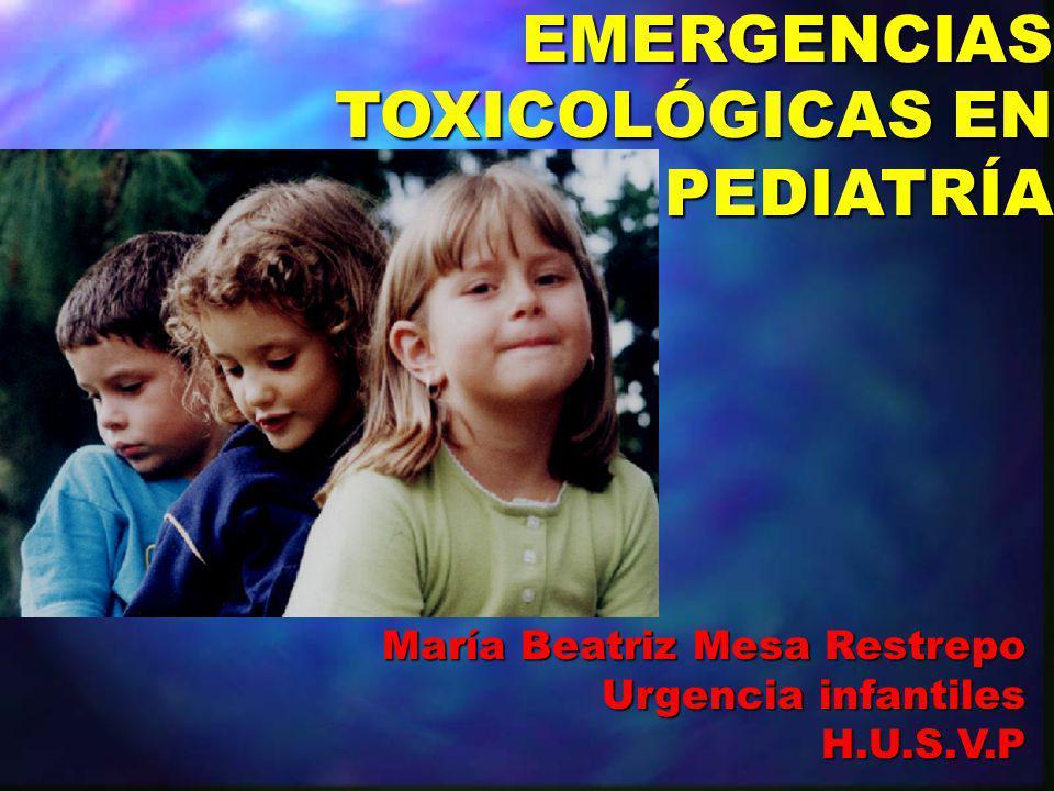EMERGENCIAS TOXICOLÓGICAS EN PEDIATRÍA EMERGENCIAS TOXICOLÓGICAS EN PEDIATRÍA María Beatriz Mesa Restrepo Urgencia infantiles H.U.S.V.P H.U.S.V.P