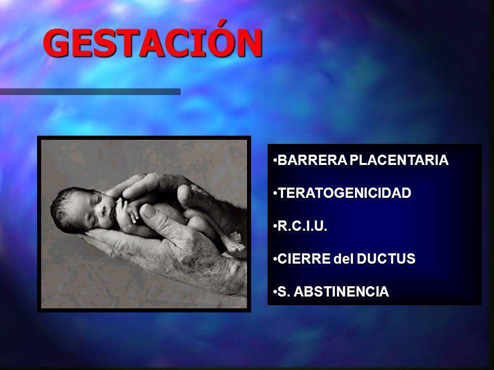 GESTACIÓN BARRERA PLACENTARIABARRERA PLACENTARIA TERATOGENICIDADTERATOGENICIDAD R.C.I.U.R.C.I.U.