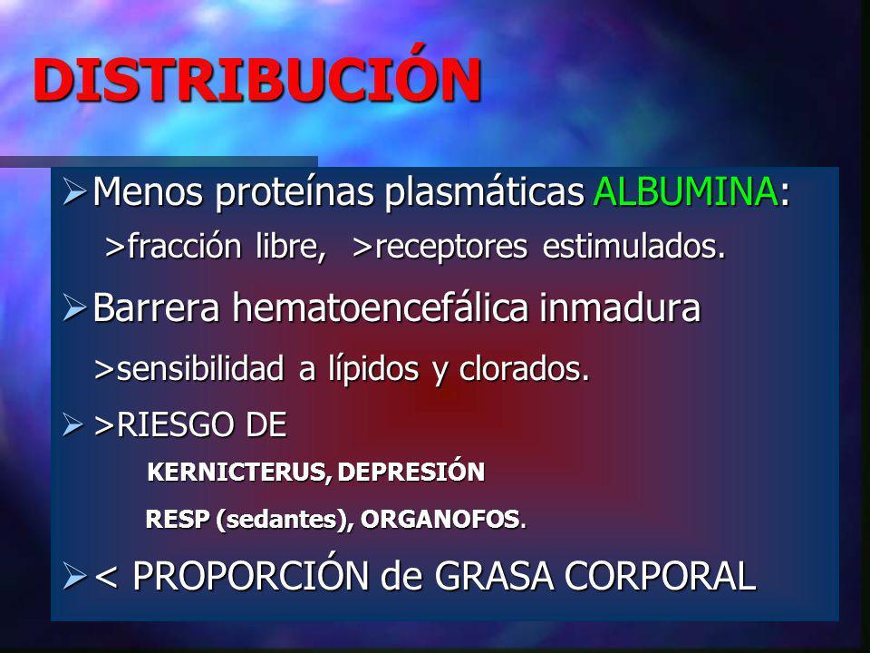 DISTRIBUCIÓN Menos proteínas plasmáticas ALBUMINA: >fracción libre, >receptores estimulados.