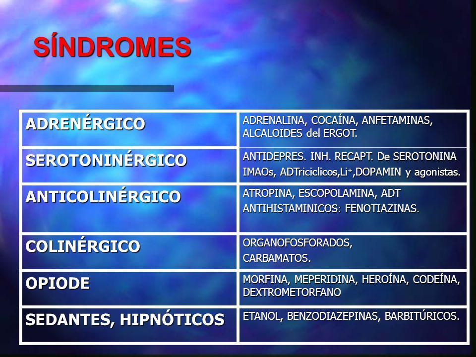 SÍNDROMES ADRENÉRGICO ADRENALINA, COCAÍNA, ANFETAMINAS, ALCALOIDES del ERGOT.
